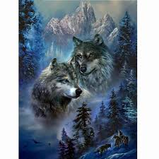 DIY Diamond Painting - Wolf Lovers | Серые волки, Рисунки ...