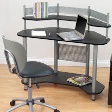 interior corner study desk black swivel office chair triangle glass top combined creamy wall paint white black glass top corner