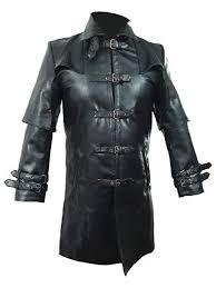 <b>Mens</b> Real <b>Black Cow Leather</b> Coat Goth Matrix Trench Coat ...