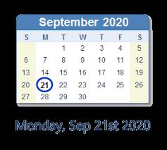 21 sep 2020