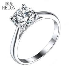 2019 <b>HELON</b> 1.25ct Moissanites <b>Ring Solid 10K</b> White <b>Gold</b> Round ...