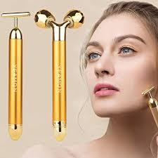 Amazon.com: 2 in 1 <b>Face Massager</b> Roller 24k <b>Facial</b> Golden Pulse ...
