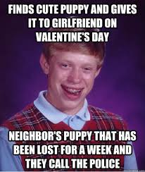 Finds cute puppy and gives it to girlfriend on Valentine's Day ... via Relatably.com