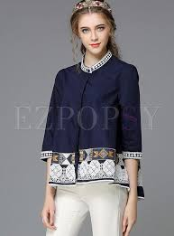 <b>Autumn Stand Collar</b> Three-Quarter Sleeve <b>Embroidery</b> Blouse ...