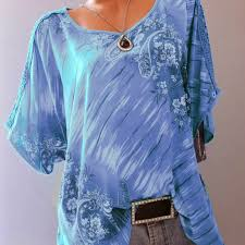 <b>5XL</b> Women <b>Lace</b> Tops Embroidered Batwing Loose Shirt <b>Summer</b> ...
