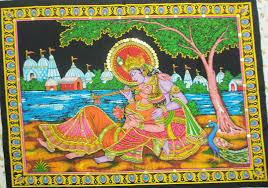 Small Picture Krishna Radha Love Wall Hanging Indian Sequin Large Tapestry