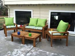 furniture brown wooden outdoor couch with striped seat pad and green cushions plus rectangle table captivating design patio ideas diy