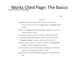 mla works cited amp in text citations the basics works cited page  works cited page the basics sample works cited page