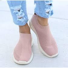 <b>Women</b> Sneakers <b>Female Knitted Vulcanized</b> Shoes Casual Slip On ...