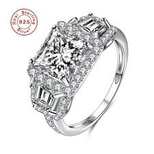 Buy <b>Luxury S925</b> Real Sterling Silver Flower Pattern 3A Zircon ...