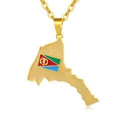 Eritrea Map Flag Pendant Necklaces Women Men Gold Color Ethnic ...