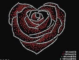 FS <b>2pc</b>/<b>lot Heart</b> Shape Rose pattern transfer on design hot fix ...