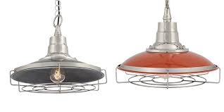 industville retro enamel cage pendant light in dark pewter and orange available to purchase via cage lighting pendants