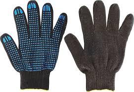 <b>Перчатки черные</b> х/б с <b>ПВХ</b>, 4 нити, 10 класс вязки РОС 12495 ...