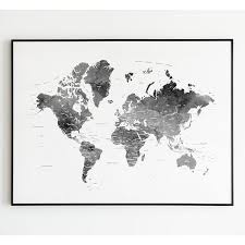 <b>Black</b> and White <b>World Map</b>, <b>World Map</b> Art Print, <b>World Black</b> White ...