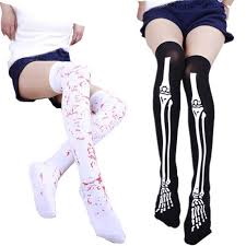 Cosplay Striped Over The Knee Stocking <b>Halloween Blood</b> Forked ...