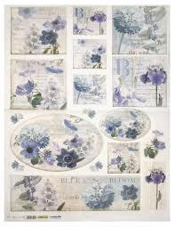 Рисовая <b>бумага для декупажа</b> Renkalik Голубые цветы, 50x70 см ...
