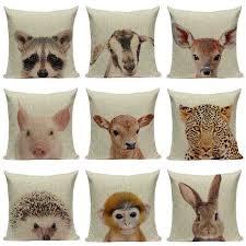 Прохладный Лев хлопок лен жираф кролик квадратная <b>Подушка</b> ...