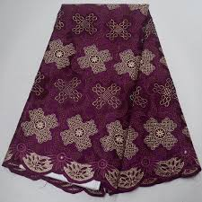 Free shipping (5yards/pc) aubergine color African Swiss voile lace ...
