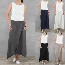 Online Shop Celmia Plus Size Women Retro Linen Skirts Casual ...