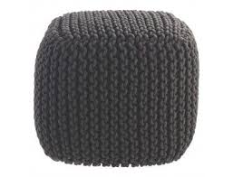 KNOT Charcoal knitted square <b>pouffe</b> | <b>Braided</b> rug diy, Square <b>pouf</b> ...