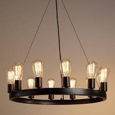 round 12 light edison bulb chandelier brilliant 12 elegant rustic