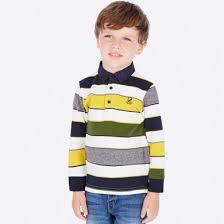 <b>Рубашка</b>-поло в полоску для <b>мальчика</b> Кремовый - <b>Майорал</b>