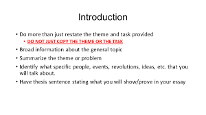 thematic essay writing tips answer all parts of the task best way introduction do more than just restate the theme and task provided do not just copy the