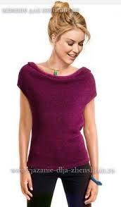 Вязание спицами топа с воротником качели | knitting pattern ...