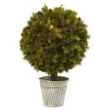 "Topiary Pine <b>Ball</b> With LED <b>Lights</b> In Iron Pot (<b>23</b>"") - Nearly Natural ..."