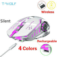 <b>T</b>-<b>WOLF</b> Q13 4 Colors Rechargeable Wireless Mouse Silent ...