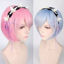 Fun Anime Maid <b>Ramrem Cosplay Wig</b> Beautiful Gradient Color ...