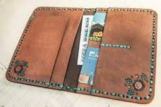 Leather Passport Cover - Turquoise <b>Dreamcatcher</b> - Steer skull and ...