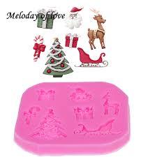 <b>Christmas</b> Tree Deer <b>Santa Claus Silicone</b> Fondant Chocolate Mold ...