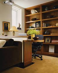 study trendy home office photo in new york with white walls carpet and a built in affordable home office desks