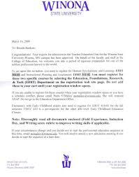 best photos of university acceptance letter college acceptance acceptance letter to winona state teacher education program acceptance letter to harvard law acceptance letter to