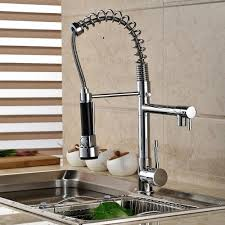 country kitchen column spout: aliexpresscom buy polished chrome spring pull down kitchen faucet with two spouts handheld shower kitchen mixer tap deck mounted from reliable kitchen