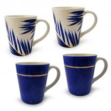 Felli <b>4pcs</b> Hand Painted Mug 13 Oz Set – <b>Nordic</b> Leaf / Line