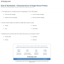 quiz worksheet characteristics of anglo saxon poetry com print anglo saxon poetry characteristics examples worksheet