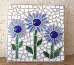 mosaic wall decor: stained glass mosaic wall art flower wall hanging daisy wall decor