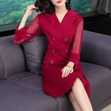 Early <b>Autumn</b> Red Long-sleeved <b>Suit</b> Collar <b>Dress Female</b> Section ...