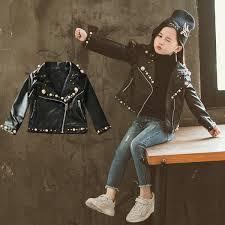 2 7 Year Old <b>Girls Pu Jacket</b> Fashion Lapel Pearl <b>Rivet Leather</b> ...