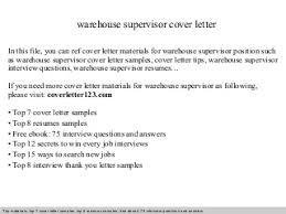 warehouse supervisor   linkedinwarehouse supervisor cover letter