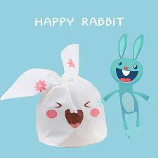 <b>50pcs</b>/<b>lot Cute Rabbit</b> Ear cookie Packing Bags Plastic Gift Bag For ...
