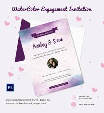 engagement invitation psd ai vector eps water color engagement invitation template