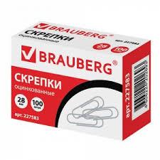 Скрепки <b>BRAUBERG</b>, 28 мм, оцинкованные, <b>100 шт</b>., в картонной ...
