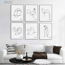 Modern Abstract Animal Figure Owl Horse Poster Print <b>Nordic Style</b> ...