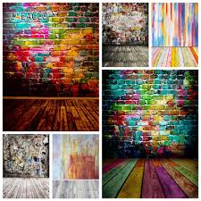 <b>Laeacco Colorful Brick</b> Wall Wooden Floor Photography Backdrops ...
