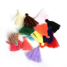 50PC 27MM Mini Polyester Cotton Thread <b>Fabric Tassel DIY</b> ...