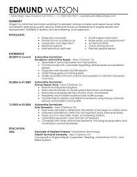 automotive technician resume sample examples resumes for jobs